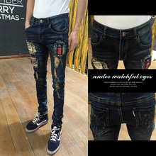 and Autumn Period South Korea Youth Popular GD with men s personality hole jeans Metrosexual