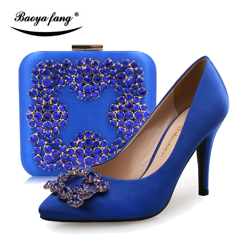 a4b8b2aa850 Royal Blue Red Silver crystal wedding shoes with matching bags Womens Bride  party dress shoes Pointed Toe Red sole High shoe 9cm