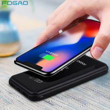 hot deal buy fdgao wireless power bank dual usb power bank 20000mah qi wireless charger for iphone xs max xr x 8 xiaomi mix 2s samsung s9 s8