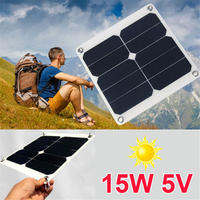 Bcmaster المحمولة 15 فولت 5 واط لوحة بنك الطاقة الشمسية diy تسلق لوحة المحمولة الشمسية شاحن الهاتف المحمول usb ميناء