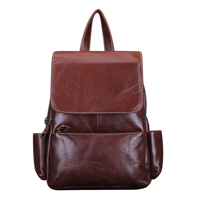 Genuine Leather Women Vintage Backpack Travel Casual Designer Luxury Female Retro Book Bag Oil Wax Cowhide
