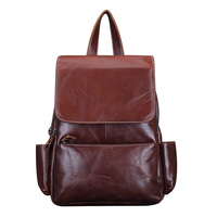 Genuine Leather Women Vintage Backpack Travel Casual Designer Luxury Female Retro Book Bag Oil Wax Cowhide Daypack Rucksack