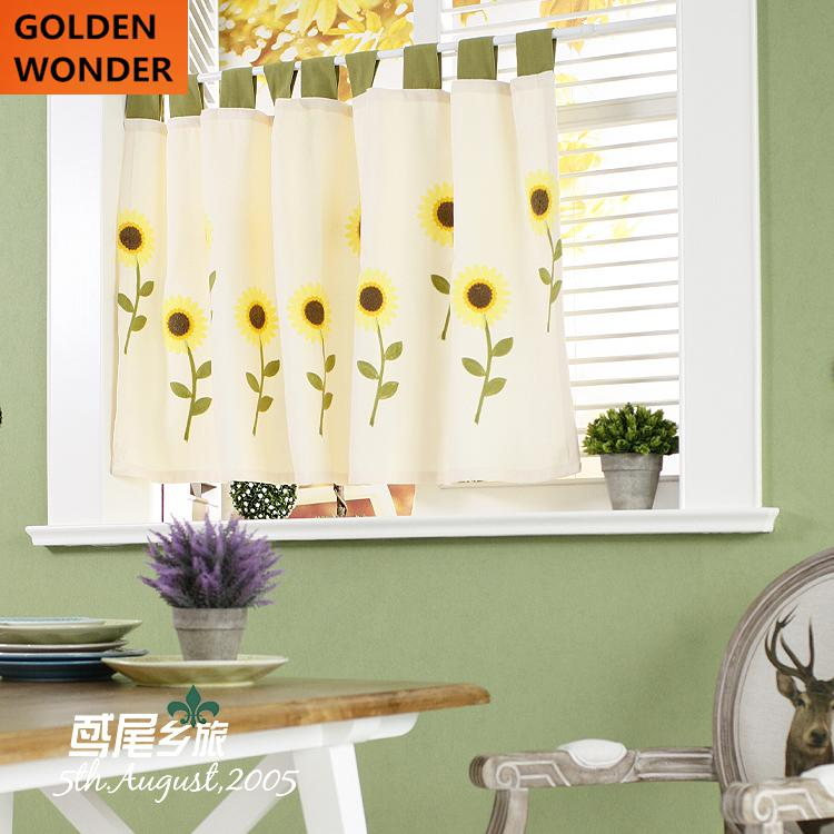 New Arrival Pastoral Sunflower Thickened Curtain Kitchen ...