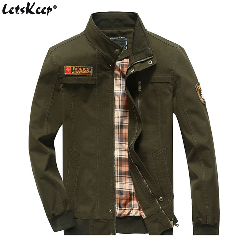 LetsKeep Autumn Military jacket men Army Green casual bomber jackets coat spring ma1 pilot jacket M-5XL plus size , MA415 image