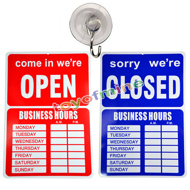 open closed business hours sign with time sheet stickers 35 x 24 cm