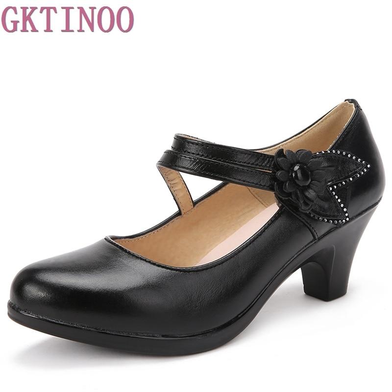 2018 neue Mode frauen Schuhe High Heels Komfortable Frauen Echtes Leder Einzigen Casual Schuhe Frauen Pumpen plus größe 40 41