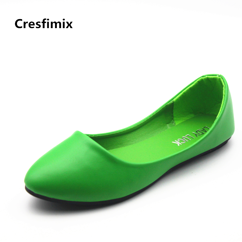 Cresfimix zapatos de mujer women soft comfortable pu leather flat shoes lady cute office flats female fashion cool slip on shoes cresfimix sapatos femininos women casual soft pu leather pointed toe flat shoes lady cute summer slip on flats soft cool shoes