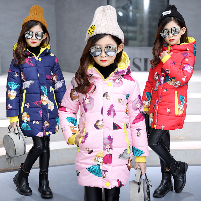 2018 New Medium Long Winter Coat For Girls Cute Cartoon Print Cotton Padded Children Parkas Thick Hooded Outerwear Warm Clothes цена