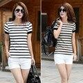 2016 mujeres del verano mujer gran tamaño de rayas blanco y negro de manga corta T-shirt ladies delgado que basa la camiseta Tops femeninos S2019