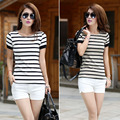 2016 summer women large size women black and white striped short-sleeved T-shirt ladies Slim bottoming T shirt female Tops S2019