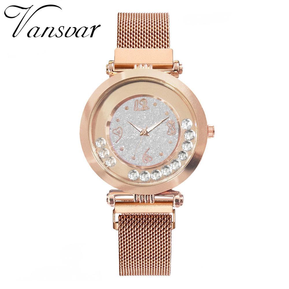 Fashion Women Watches Rhinestone Quicksand Quartz Wristwatch  Stainless Steel Magnetic Buckle Ladies Watch Reloj Mujer Clock #W