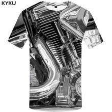 KYKU Motorcycle T-shirts Punk Clothing Retro Shirts Mechanical Tshirt  T-shirt Men Funny Clothes 3d Shirt Mens Summer Style