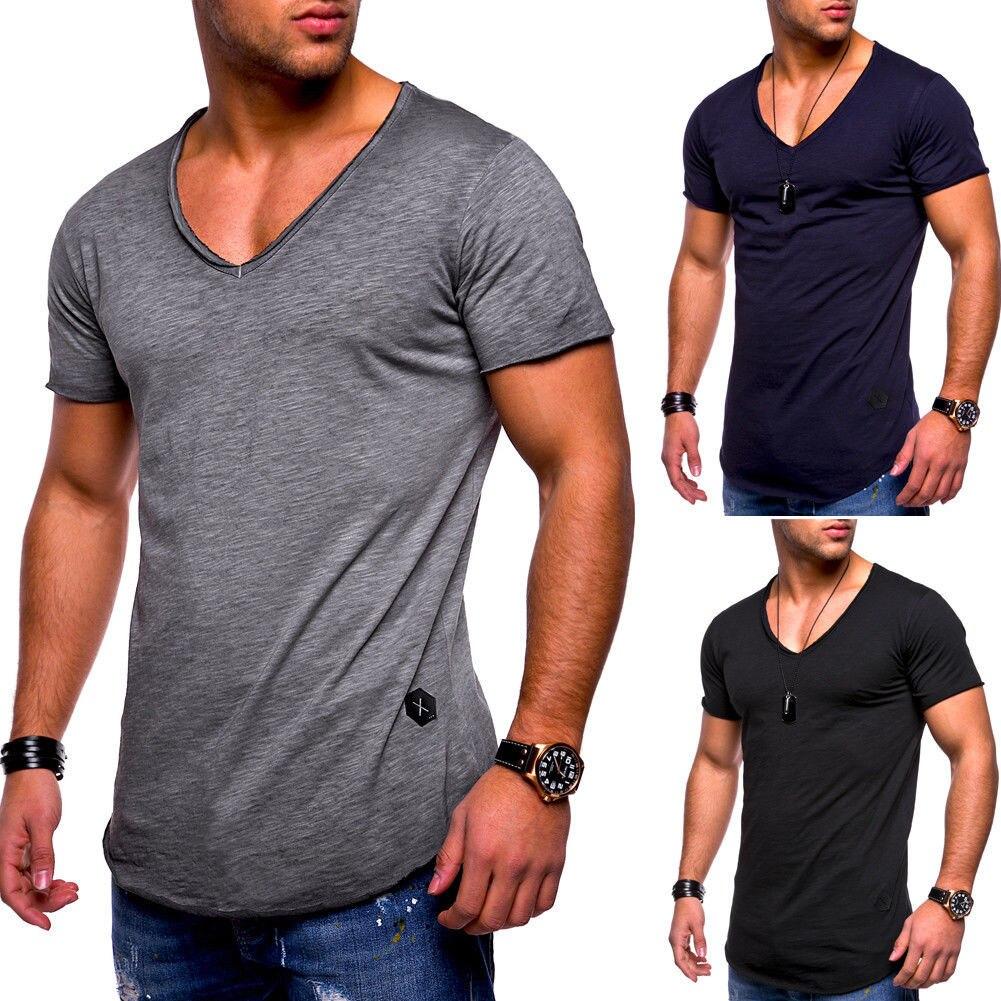 2018 Summer Mens   T     Shirt   Top Short Sleeve V Neck Slim Fit Muscle   T  -  Shirt   Men Gray White Black Tshirt Casual Tee   Shirt   Homme 3XL