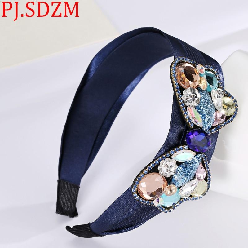 PJ.SDZM Handmade Women Luxury Rhinestone Sweet Bow Hairbands Crystal Headband Hair Accessory Gift