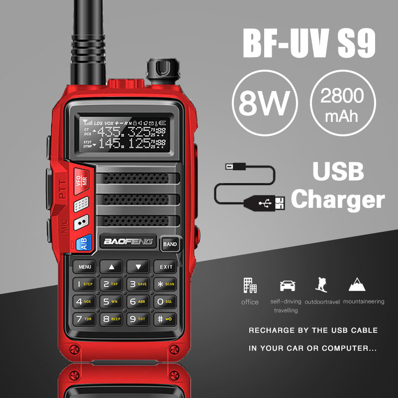UV-S9 BaoFeng 2018 potente Walkie Talkie CB Radio transceptor 8 W 10 km de largo alcance Radio portátil para hunt forest city upgrade 5r