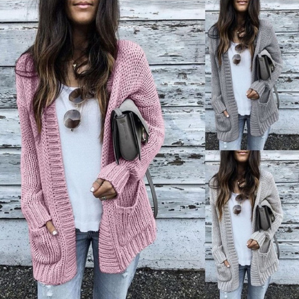 Knitwear Cardigan Jumper Coat Batwing Pocket-Design Long-Sleeve Female Pink Autumn Winter