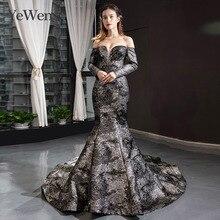 Vestido de noche de sirena negra YeWen, vestido formal árabe, Vestidos de Noche de manga larga 2020