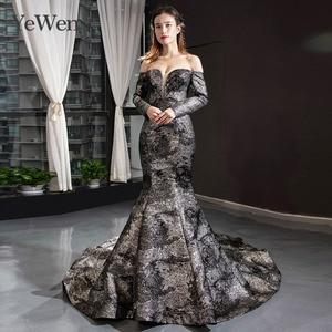Image 1 - YeWen Black Mermaid Evening dress formal dress  arab dresses evening 2020 Long Sleeves