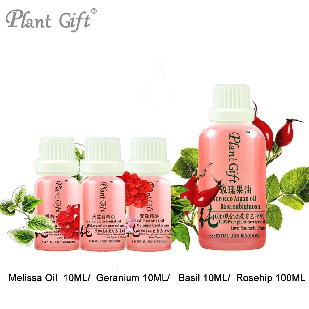 Improve Dry Skin Care 100% Pure Plant Essential Oil Melissa Oil / Geranium / Basil / Ros ...