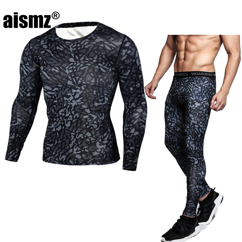 Aismz Compression Shirt Tactical MMA Rashgard Union Suit Men's Long Sleeve T-Shirt + Tights For Men Set 2 Piece Tracksuit Men
