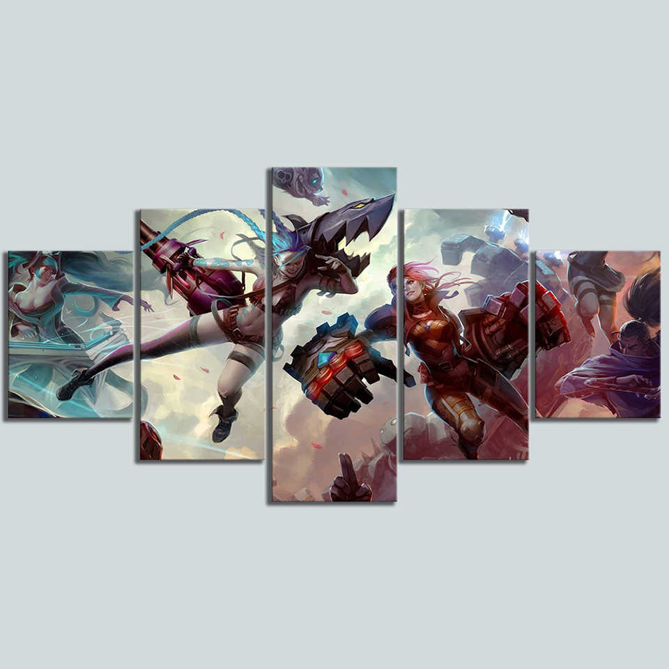 Wall Art Canvas Prints 5 Set League Of Legends Painting Video Game Poster Home Decor Abstract Pictures Living Room Frame