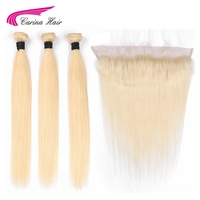 Carina Brazilian Blonde Color Hair Wefts 3 Bundle With 13 4 Ear To Ear Lace Frontal