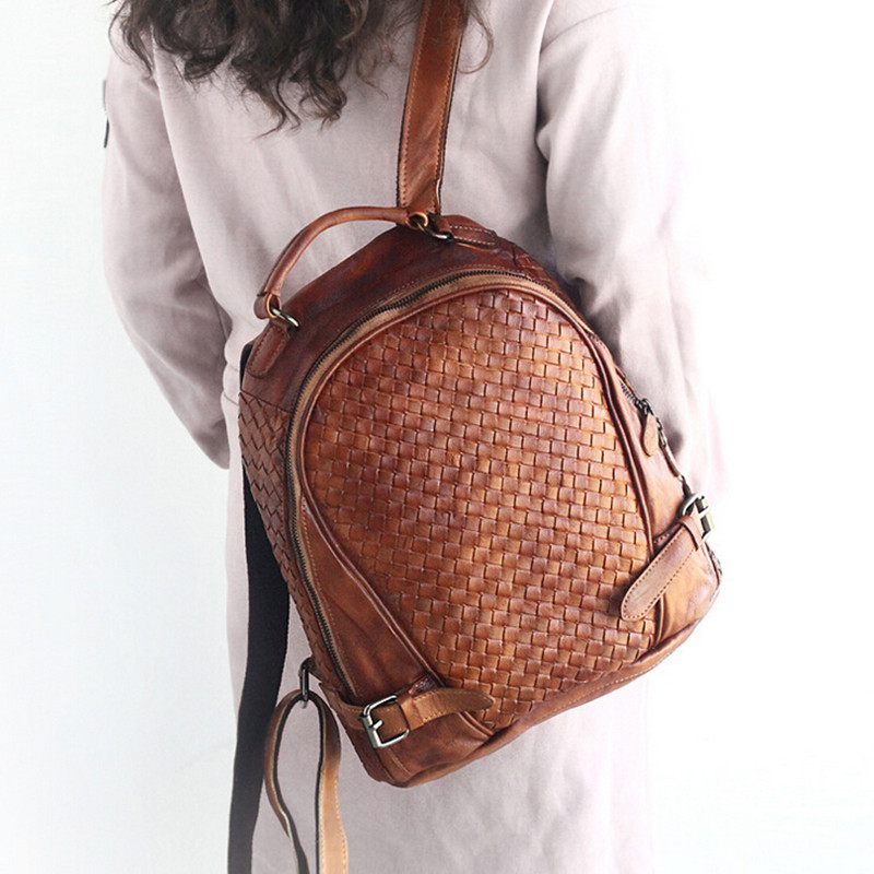 Unisex 100% Genuine Vegetable Tanned Leather Backpacks Genuine Leather Vintage Backpack Brown Bags Male Female Fashion Backpack Choice Materials Men's Bags Luggage & Bags