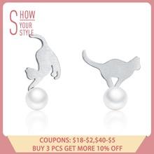 896d69fa1 BAMOER Hot Sale 100% 925 Sterling Silver Naughty Cat Play Ball Drop Earrings  Women Sterling Silver Earrings Jewelry Gift SCE235