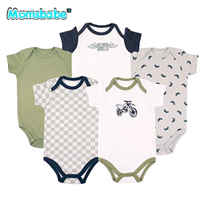 Summer 5PCS Cartoon 100%Cotton Baby Boy Clothes Baby Gift Short Sleeve Baby Rompers Newborn Jumpsuit Baby Clothing Romper Wear newest 2016 summer baby rompers clothing short sleeve 100