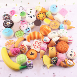 5/10/15/20pcs Jumbo Kawaii squeeze toys Mini Soft Extrusion Bread Toys Keyring Rising Decompression squishy slow rising for Kids