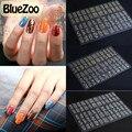 BlueZoo 12.2 cm * 18 cm 1 Hojas/paquete de Oro Y Plata Flores Pegatina y Calcomanías Arte Del Clavo 3D decoraciones de Uñas de diamante Pegatinas Pasta de Manicura