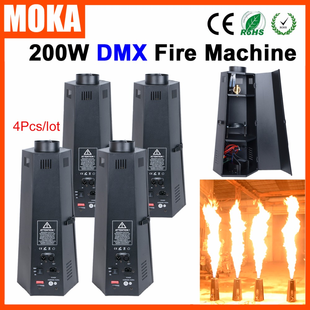 4pcs/lot DMX512 Control Flame Machine Colorful Flame Projector,Spray Flame Fire Machine,Stage Equipment Flame Machine