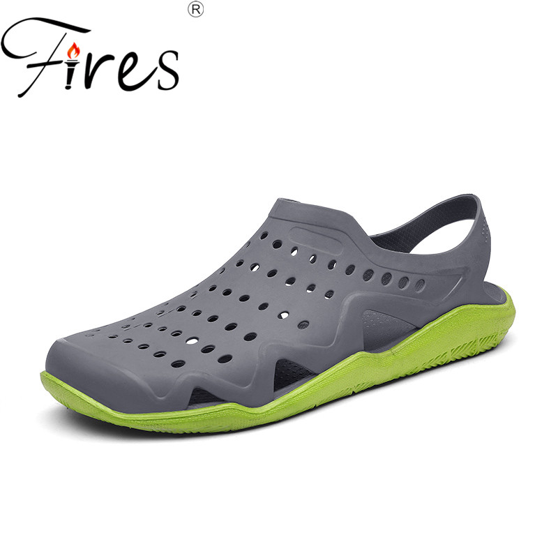 Fires Men Summer Casual Sandals PVC Lightweight Water Shoes Hollow Uppers Breathable Leisure Shoes Outdoor Beach Loafer Shoes