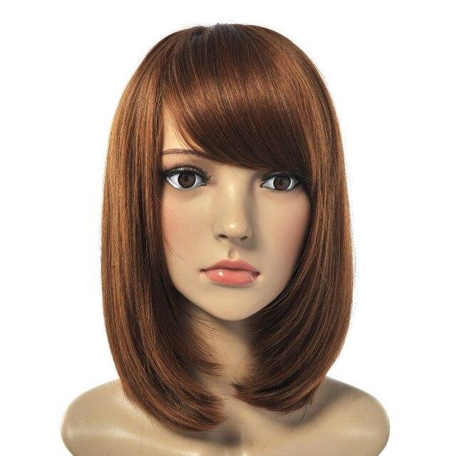 Bob Wig Straight Short Haircuts Women Wigs Brown Red Hair Heat