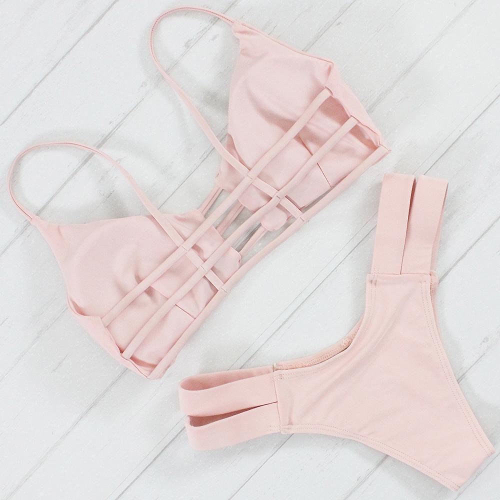 Bikinis Women Swimsuit Push Up Swimwear Women 2017 Sexy Bandeau Pink Brazilian Bikini Set Beach Bathing Suit Bandage Biquini 5