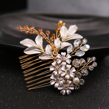 Pink Crystal Flower Bridal Hair Comb
