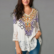Women Loose Blouse Three Quarter