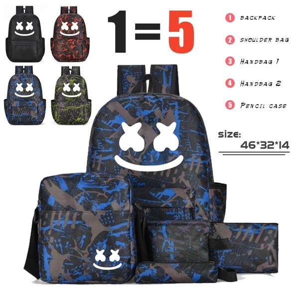 BPZMD 5pc/set DJ Marshmallow School Bag Set For Teenagers Boys Girl Student Backpack Luminous Anti-theft Backpack Back To School
