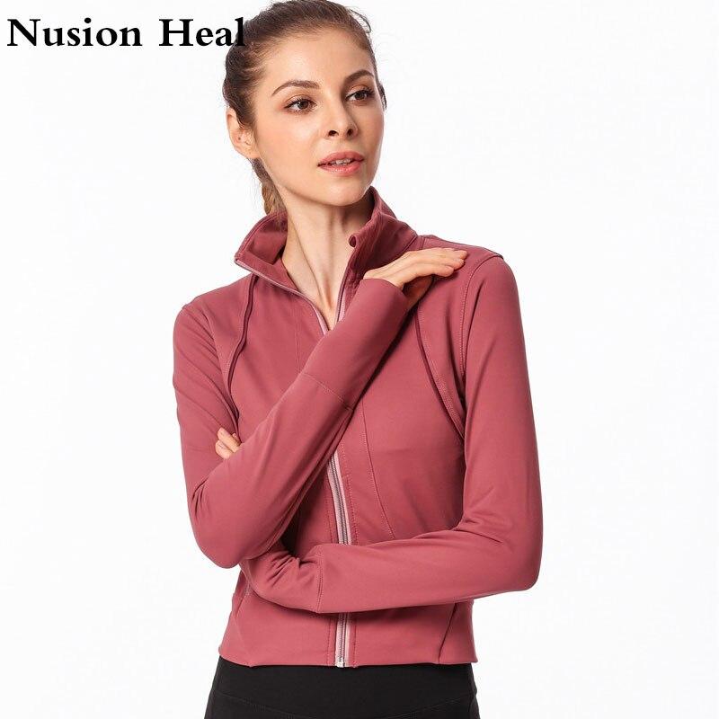 2019 Zipper chemise de Yoga à manches longues sans couture tenue de Sport fille Sport maillots femmes Fitness manteaux course Sport veste hauts