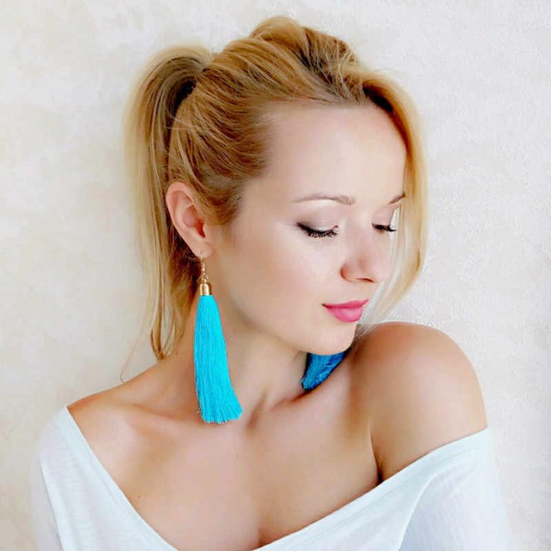 Lzhlq Винтаж этнические длинные серьги с кисточками женские 2020 модные брендовые ювелирные изделия геометрический сплав покрытие простые висячие серьги