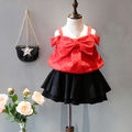 short style 2016 summer new baby girls t shirt big bow lace kids clothes red tee top infantil for 2-7T roupas infantis menina