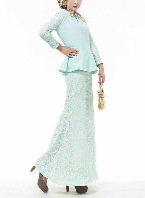 Women 2 Piece Suit Muslim Lace Dress Suit Long Sleeve Malaysia Turkish Two  Piece Clothing Long Dress 0157178d09