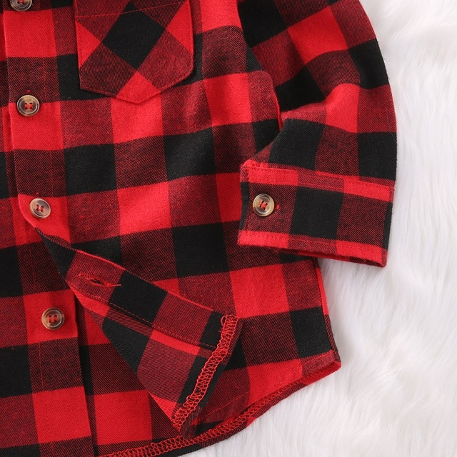 Trendy Hot Sale Plaid Shirts Child Kid Boys Girl Long Sleeve Buttons Pocket Tops Shirt Turn Down Collar Blouse Casual