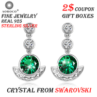 AOBOCO Brand Sterling Silver Earring Trendy Green Crystal From Swarovski Drop Earrings For Women Party Fine Jewelry Gift Boxes