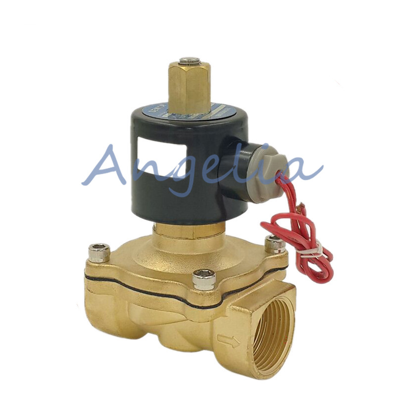 G1-1/4 N/O AC220V/110V/24V Brass Electric Solenoid Valve Water Gas Air Normally Open Type 3 8 electric solenoid valve water air n c all brass valve body 2w040 10 dc12v ac110v