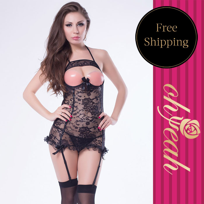 Drop shipping Special design black lace cupless halter chemise sexy lingerie women beautiful font b sex