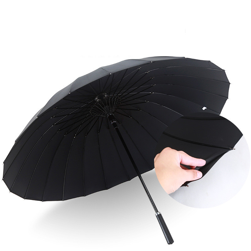 High quality long handle 24k large umbrella windproof outdoor rain gear female men double 2 layer parasol big umbrellas YT043