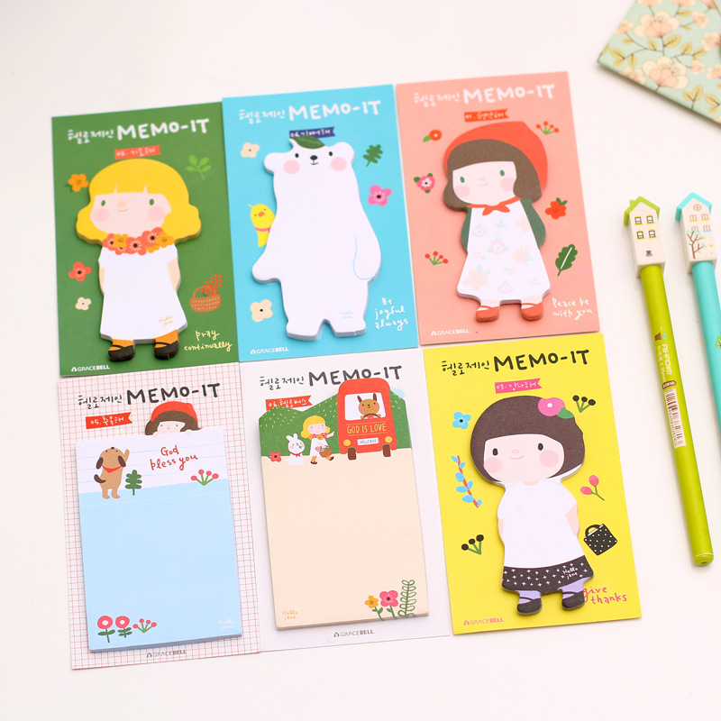 6pcs/lot 11.5 * 7cm Cute Apron Girl Cartoon Creative Notes Easy To Paste N Times Posted Korean Stationery