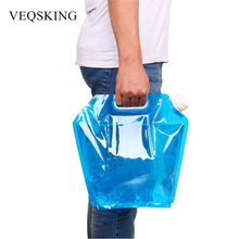 5L/10L Outdoor Foldable Water Bag Food Grade PE Camping Hiking Picnic Water Bag Collapsible Hydration Storage Lifting Bag
