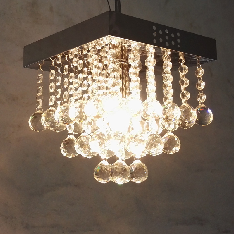 Fashion Square K9 Crystal E14 LED Bulb Chandelier Lamp Home Deco Dining Room 30# Crystal Ball Chandelier Lighting Fixture